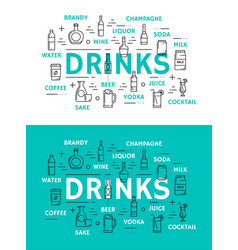 Non alcohol beverage and alcohol drinks vector