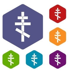 Orthodox cross icons set vector image