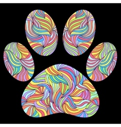 Paw print on black background vector