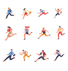 people males and females running forward set vector image