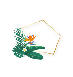 polygon slanted gold frame with tropical hawaii vector image