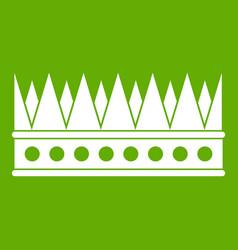 Regal crown icon green vector