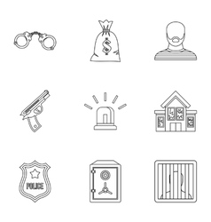 Robbery icons set outline style vector