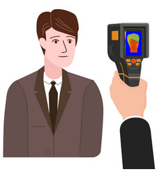 Scanning a person male with thermal scaner for vector