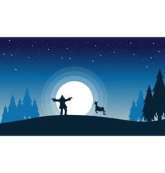 Scenery of Santa reindeer with big moon vector