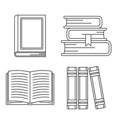school library books icon set outline style vector image