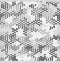 Seamless hex digital arctic snow spot camo texture vector