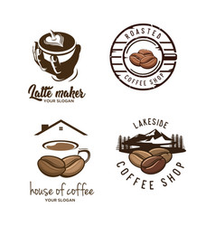 set coffee logo vector image