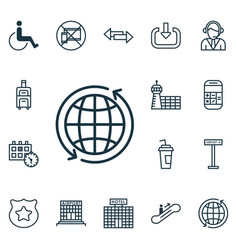 Set of 16 transportation icons includes operator vector