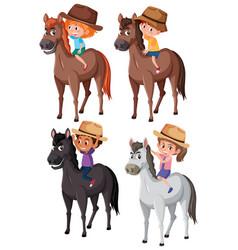 set of children riding horse vector image