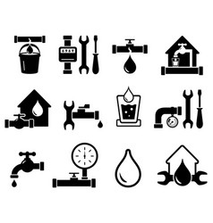 Set of pipeline construction icons for plumber vector