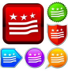 Set shiny icon series on buttons american flag vector