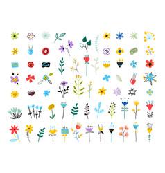 set spring colorful flowers set floral vector image
