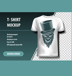 Skull with cylinder t-shirt template fully vector