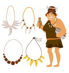 Stone age cartoon woman shopping vector