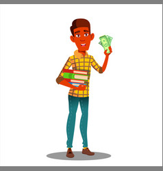student holding pile of books in one hand and vector image