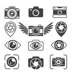 Stylized pictures of different photo equipment vector