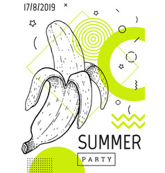 summer party poster in geometric memphis style vector image