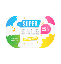 super sale 25 off discount banner template for vector image