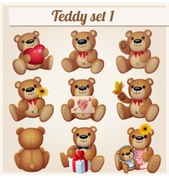 Teddy bears set Part 1 Cartoon vector image