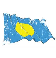 textured grunge waving flag palau vector image