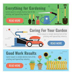 Three banner for gardening work vector