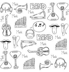 Tools music set doodles vector