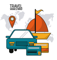 Travel around the world vehicle car ship boat vector