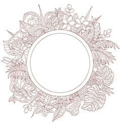 Tropic outline frame round vector