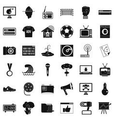 Tv set icons set simple style vector