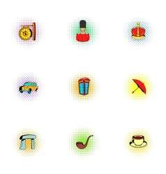 United Kingdom icons set pop-art style vector