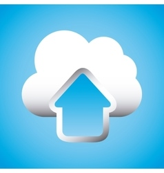 Upload arrow and cloud icon vector