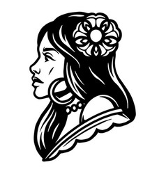 vintage tattoo concept attractive woman vector image
