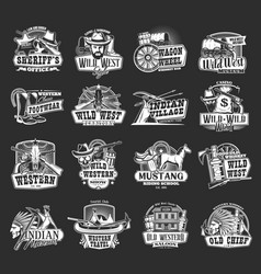 Wild west sheriff western cowboy and skull icons vector