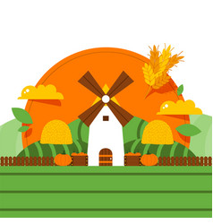 Windmill rural barn organic food harvest farmer vector