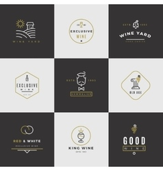 Wine card logo set vector
