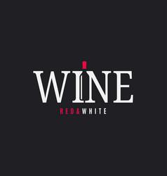 Wine logo with bottle on black background vector