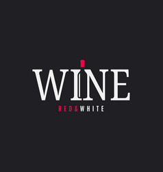 wine logo with wine bottle on black background vector image