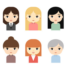 woman avatars set with smiling faces female vector image