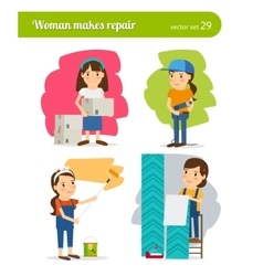 Woman making repairs vector