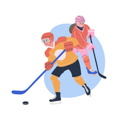 Young male and female ice hockey players vector