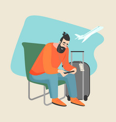 young man sitting at the airport vector image