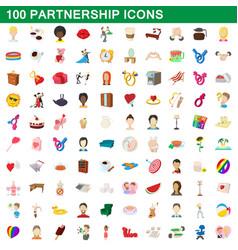 100 partnership icons set cartoon style vector image vector image