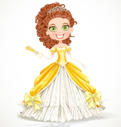 Beautiful princess in a yellow ball dress vector image vector image