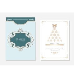 Christmas template with laser cutting vector image vector image
