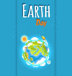 earth day holiday poster with planet vector image