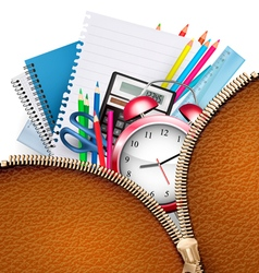 Education background with school supplies and open vector image