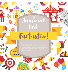 flyer with amusement park fun icons vector image