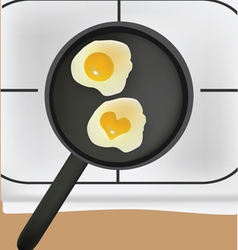 fried eggs in black pan vector image vector image