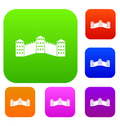 great wall of china set color collection vector image vector image